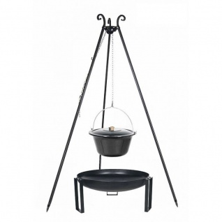 Outdoor Grill mit Feuerschale Pan 36, Dreibein, Emaillierter Kessel verschiedene Größen