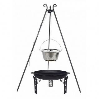 Outdoor Grill mit Feuerschale Pan 40, Dreibein, Kessel Edelstahl verschiedene Größen