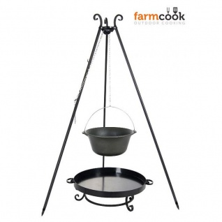 Outdoor Grill mit Feuerschale Pan 32, Dreibein, Kessel Gusseisen verschiedene Größen
