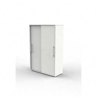 Schiebetürenregal Büroregal Form 4 weiß, 4 Ordnerhöhen, abschließbar 100 x 40 x 147 cm