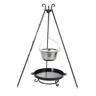 Outdoor Grill mit Feuerschale Pan 32, Dreibein, Kessel Edelstahl verschiedene Größen