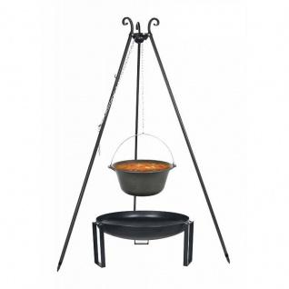 Outdoor Grill mit Feuerschale Pan 36, Dreibein, Kessel Gusseisen verschiedene Größen