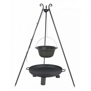 Outdoor Grill mit Feuerschale Pan 37, Dreibein, Kessel Gusseisen verschiedene Größen