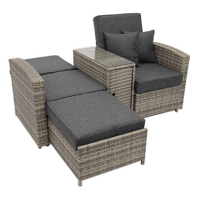 doppelliege funktionssofa mit mitteltisch polyrattan matera kaufen bei hohners shop. Black Bedroom Furniture Sets. Home Design Ideas