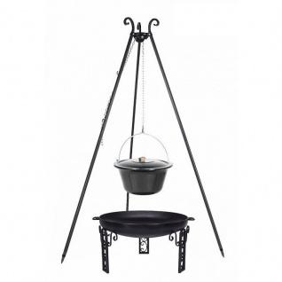 Outdoor Grill mit Feuerschale Pan 40, Dreibein, Emaillierter Kessel verschiedene Größen