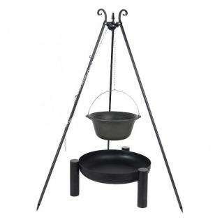 Outdoor Grill mit Feuerschale Pan 38, Dreibein, Kessel Gusseisen verschiedene Größen