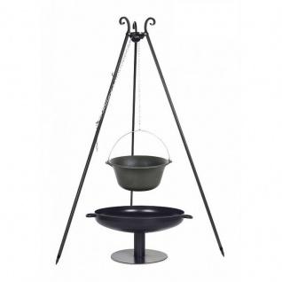 Outdoor Grill mit Feuerschale Pan 41, Dreibein, Kessel Gusseisen verschiedene Größen