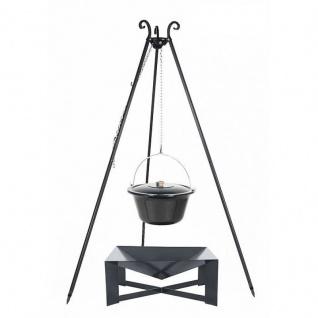 Outdoor Grill mit Feuerschale Pan 34, Dreibein, Emaillierter Kessel verschiedene Größen