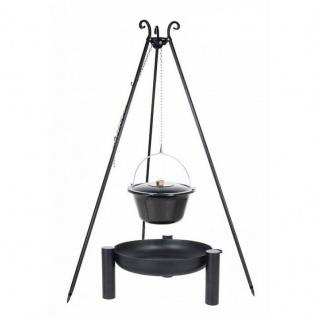 Outdoor Grill mit Feuerschale Pan 38, Dreibein, Emaillierter Kessel verschiedene Größen