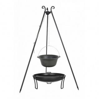 Outdoor Grill mit Feuerschale Pan 39, Dreibein, Kessel Gusseisen verschiedene Größen