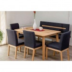 Moderne Massivholz Esszimmerbank Bank Lounger Leder-Look