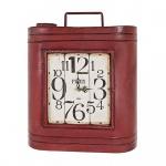 Schlüsselkasten aus Metall in rot / Vintageoptik, mit integrierter Uhr