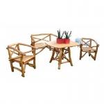 Knüppelholzgarnitur Holzgarnitur SitzgruppeTisch Stuhl 4-teilig hell massiv
