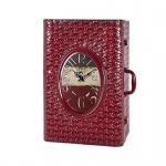 Wandschrank aus Metall in rot / Vintageoptik, mit integrierter Uhr