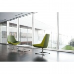 Design Lounge Sessel Mehrzwecksessel Kayak 4-Fußkreuz verchromt einfarbig mittlere Lehne höhenverstellbar