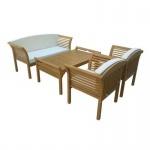 Lounge Set Sitzgarnitur Holzgarnitur mit Auflagen 4tlg.