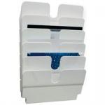 Wand Prospekthalter Set FLEXIPLUS 6, A4 Querformat 6 Fächer weiß