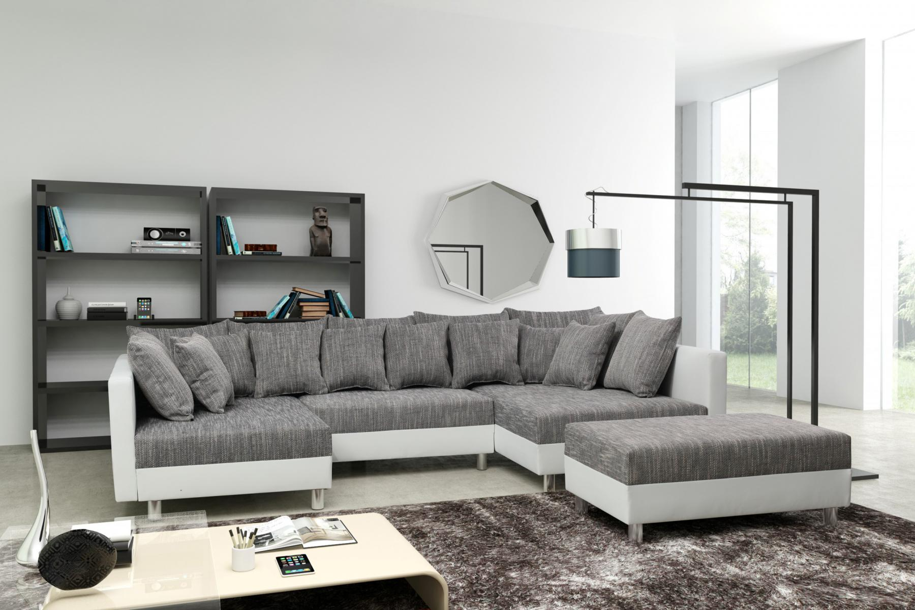 sofa couch ecksofa eckcouch in weiss hellgrau eckcouch mit hocker minsk xxl kaufen bei. Black Bedroom Furniture Sets. Home Design Ideas