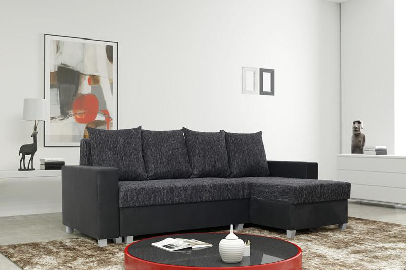 schlafsofa sofa couch ecksofa eckcouch schwarz schlaffunktion luanda 1 l r kaufen bei kuechen. Black Bedroom Furniture Sets. Home Design Ideas
