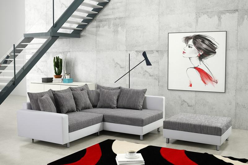 modernes sofa couch ecksofa eckcouch in weiss eckcouch mit hocker minsk r kaufen bei kuechen. Black Bedroom Furniture Sets. Home Design Ideas