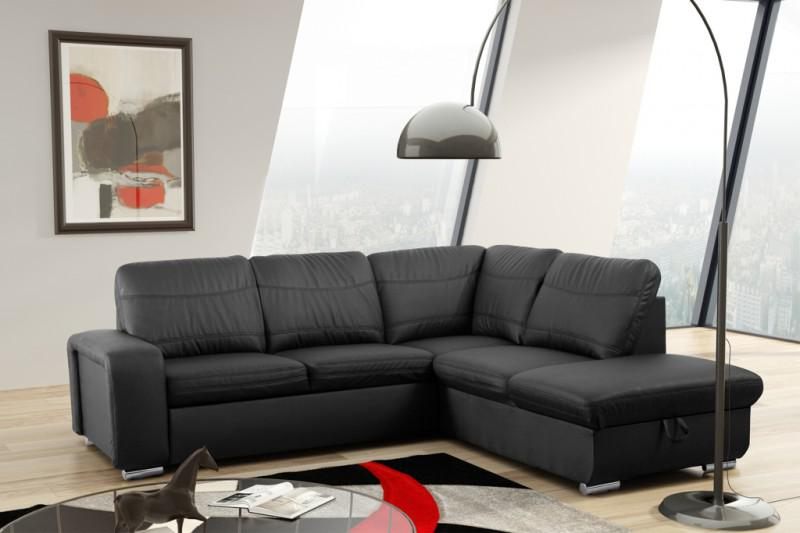 schlafsofa sofa couch ecksofa eckcouch in schwarz mit schlaffunktion wilna kaufen bei. Black Bedroom Furniture Sets. Home Design Ideas