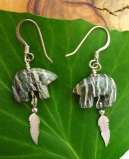 Ohrhänger Bär mit Federn, Silberauge / Silber, 1 Paar