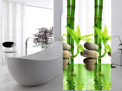 edler textil duschvorhang 240 x 200 cm bambus mit stein weiss gr n inkl ringe kaufen bei ekershop. Black Bedroom Furniture Sets. Home Design Ideas