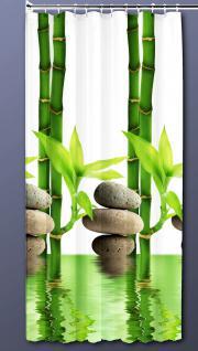 Textil DUSCHVORHANG 120x200cm Bambus Mit Stein Weiß Grün inkl. Ringe - Vorschau 1