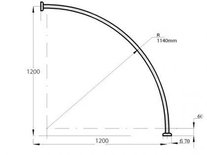 ALU EINTEILIG Duschvorhangstange Bogenstange 120 x 120cm Chrom glänzend Oval Eckduschstange Silber - Vorschau 3