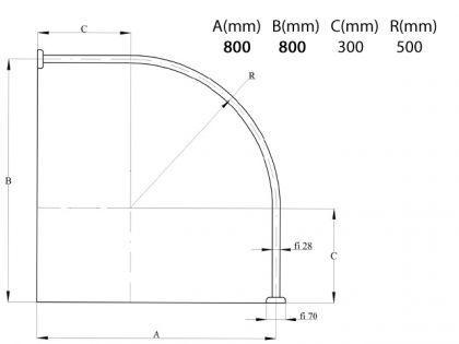 ALU EINTEILIG Duschvorhangstange Bogenstange 80x 80cm Weiss Oval Eckduschstange Weiß - Vorschau 3