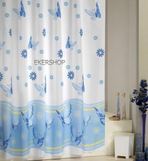"""EDLER Textil Duschvorhang 240 x 200 cm """"Schmetterlingen&Blumen"""" Blau Weiss inkl. Ringe"""