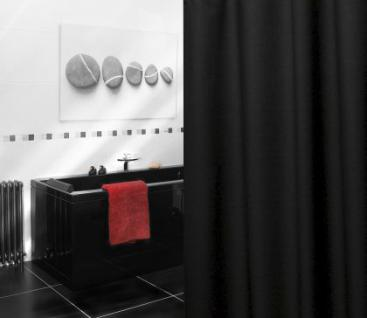 "EDLER Textil Duschvorhang 120 x 200 cm ""Uni Schwarz"" inkl. Ringe"