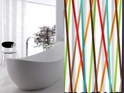 edler textil duschvorhang 120 x 200 cm bunte streifen weiss braun t rkis orange rot inkl. Black Bedroom Furniture Sets. Home Design Ideas