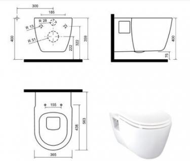 Hänge Wand Dusch Wc Taharet Bidet Taharat Toilette Creavit FR320 mit flach Düse inkl. Wc Sitz - Vorschau 3