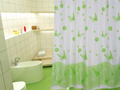 """EDLER Textil Duschvorhang 240 x 200 cm """"Schmetterlingen&Blumen"""" Grün Weiss inkl. Ringe"""