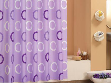 edler textil duschvorhang 180 x 200 cm lila mit kreisen weiss inkl ringe kaufen bei ekershop. Black Bedroom Furniture Sets. Home Design Ideas