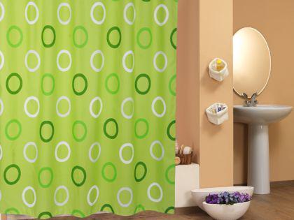 edler textil duschvorhang 240x200cm zweiteilig wassertropfen gr n weiss inkl ringe kaufen. Black Bedroom Furniture Sets. Home Design Ideas