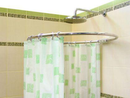 alu ringstange chrom rund 80 cm duschvorhangstange winkelstange f r duschvorhang silber. Black Bedroom Furniture Sets. Home Design Ideas