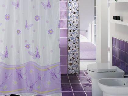 "EDLER Textil Duschvorhang 240 x 200 cm ""Schmetterlingen&Blumen"" Lila Weiss inkl. Ringe"
