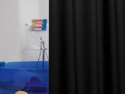 edler textil duschvorhang 180 x 200 cm uni schwarz inkl ringe kaufen bei ekershop. Black Bedroom Furniture Sets. Home Design Ideas