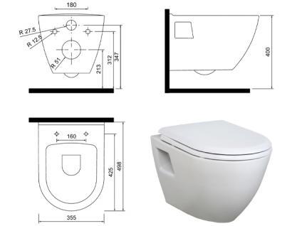 Hänge Wand Dusch Wc Taharet Bidet Taharat Toilette Creavit TP325 mit flach Düse inkl.Soft-Close Wc Sitz - Vorschau 3