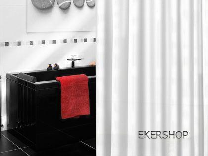 "EDLER Textil Duschvorhang 240 x 200 cm ""Uni Weiss"" Weiß inkl. Ringe"