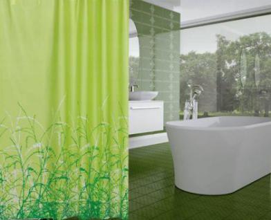 edler textil duschvorhang 120 x 200 cm gr ner garten gr n weiss inkl ringe kaufen bei ekershop. Black Bedroom Furniture Sets. Home Design Ideas