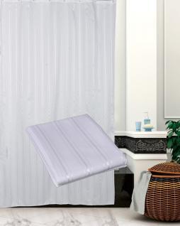 """Textil Duschvorhang 180 x 200cm """"Weiss in sich gestreift"""" inkl. Ringe Weiß"""