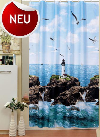 edler textil duschvorhang 240 x 200 cm leuchtturm am meer blau weiss gr n inkl ringe kaufen. Black Bedroom Furniture Sets. Home Design Ideas