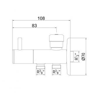 """Design Kombieckventil Doppelanschluss 1/2"""" x 3/8"""" x 3/8"""" verchromt eckventil - Vorschau 3"""