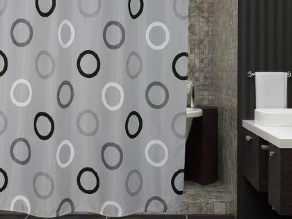 edler textil duschvorhang 180 x 200 cm grau mit schwarz weiss kreisen inkl ringe kaufen bei. Black Bedroom Furniture Sets. Home Design Ideas