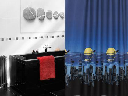 edler textil duschvorhang 180 x 200 cm manhattan night blau schwarz gelb inkl ringe kaufen. Black Bedroom Furniture Sets. Home Design Ideas