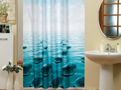 edler textil duschvorhang 120 x 200 cm stein im meer dunkel t rkis schwarz ringe kaufen. Black Bedroom Furniture Sets. Home Design Ideas