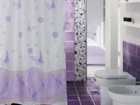 "EDLER Textil Duschvorhang 180 x 200 cm ""Schmetterlingen&Blumen"" Lila Weiss inkl. Ringe"